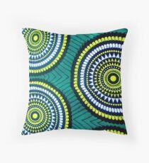 The Green moon - Capulana African wax print  Throw Pillow