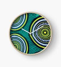 The Green moon - Capulana African wax print  Clock