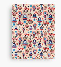 pattern amusing lovers robots Canvas Print
