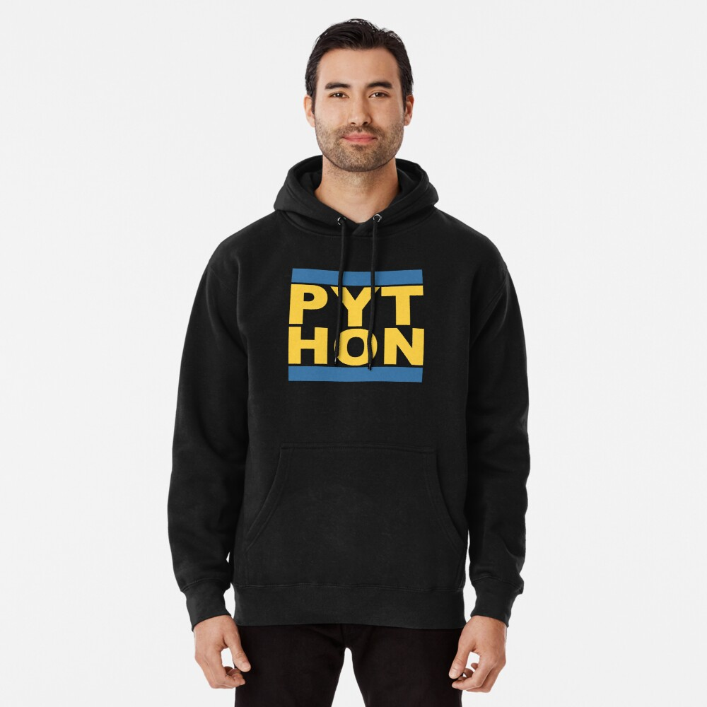 PYT HON - Cool Blue & Yellow Python Programmer Design Pullover Hoodie