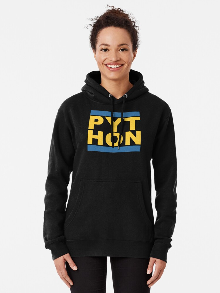 Alternate view of PYT HON Cool Blue & Yellow Design for Python Programmers Pullover Hoodie