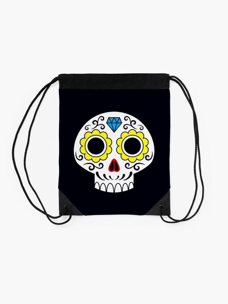 Alternate view of Sugar skull for a cake Drawstring Bag