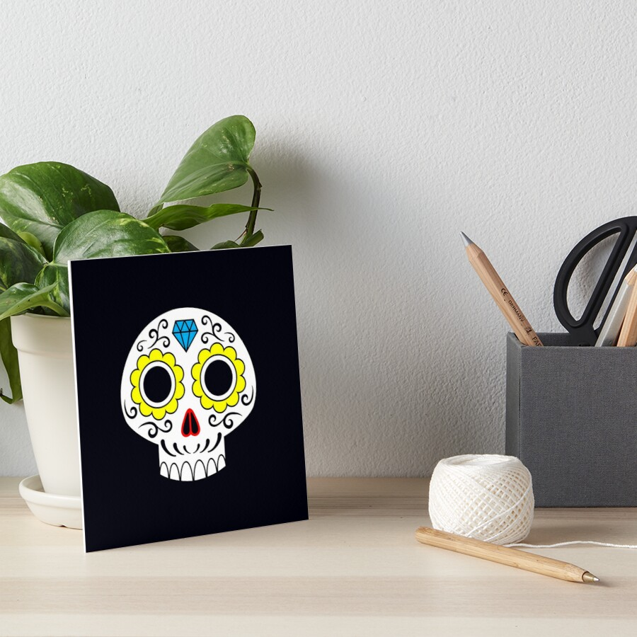 Sugar skull for a cake Art Board Print