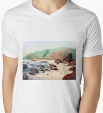 Tropical beach at sunset - nature background watercolor Men's V-Neck T-Shirt