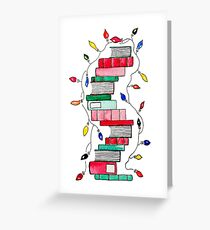 Festive Holiday Book Stack Greeting Card
