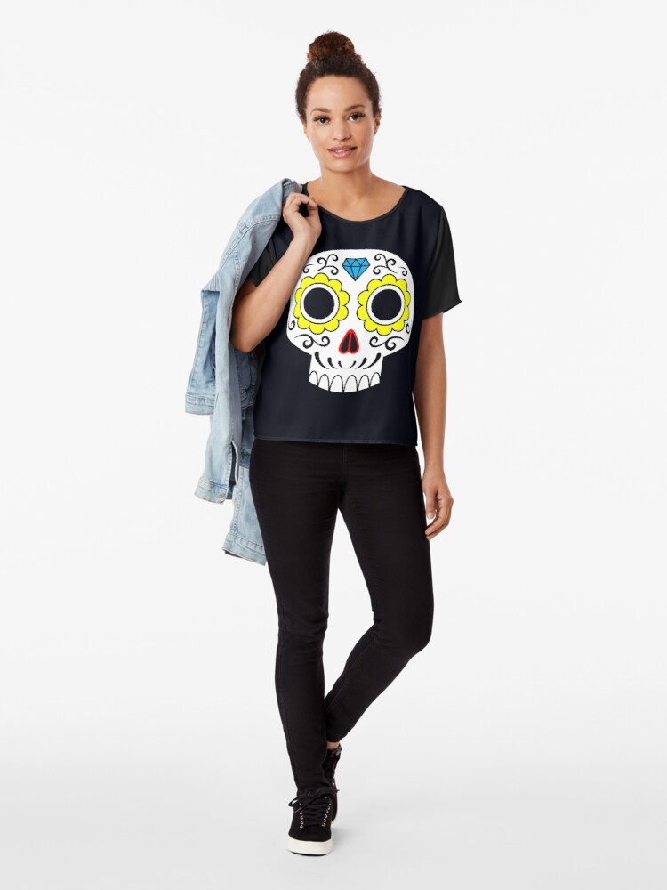 Alternate view of Sugar skull for a cake Chiffon Top