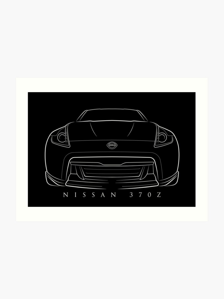 Nissan 370z Front Stencil White Art Print By Mal Photography