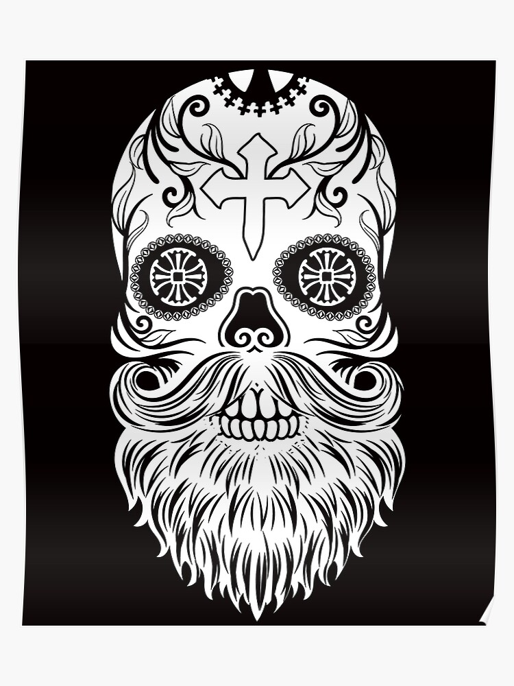 44eabfd4026d Day of the Dead White Bearded Sugar Skull with Cross Dia de los Muertos |  Poster