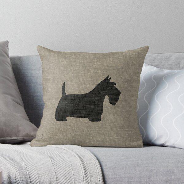 Scottish Terrier Silhouette(s) Black Scottie Dog Throw Pillow