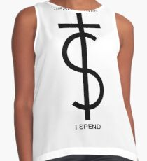 Jesus saves. I spend. (Basic Black) Contrast Tank