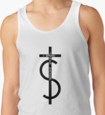 Jesus saves. I spend. (Black) Tank Top