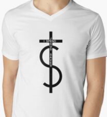 Jesus saves. I spend. (Black) Men's V-Neck T-Shirt