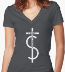 Jesus saves. I spend. (White) Women's Fitted V-Neck T-Shirt