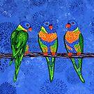 Rainbow Lorikeets (square version) by Lisafrancesjudd