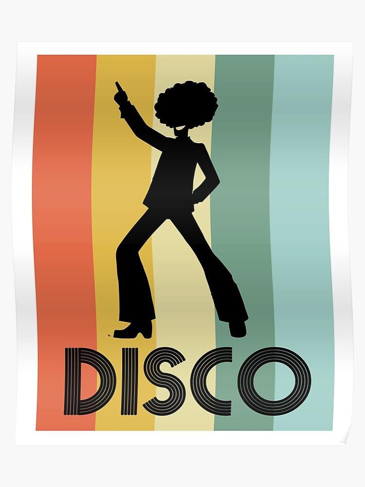 Retro Disco Dancing T Shirt Gift for 70s Disco Dancer   Poster