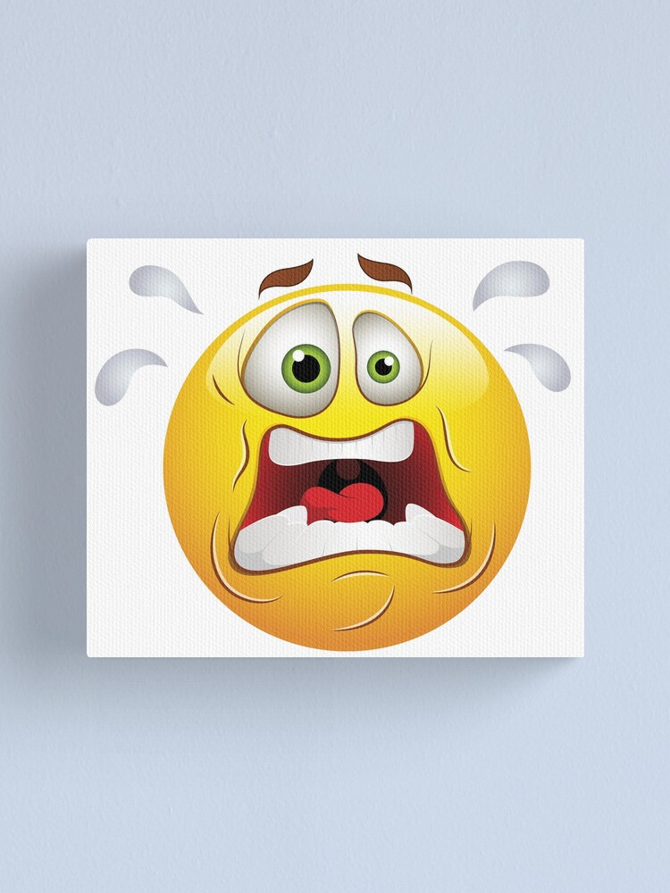 Alternate view of Frightened Smiley Face Emoticon Canvas Print