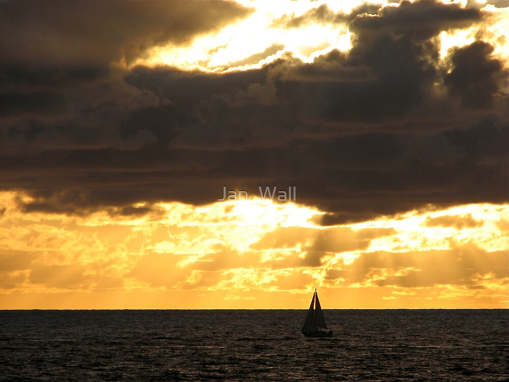 Sailing by Sunset by Jan  Wall