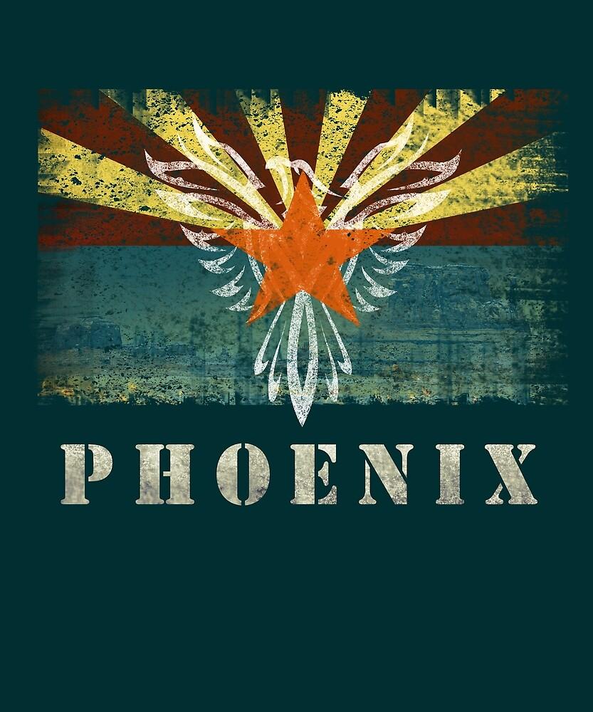 Phoenix, Arizona Flag. Distressed, Retro, Vintage . by STYLESYNDIKAT