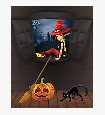 Halloween witch on a window in London Photographic Print