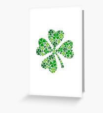 lucky four-leaf clover, green shamrock  Greeting Card