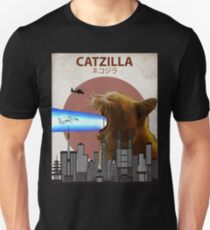 Camiseta ajustada Catzilla - Gato gigante con láseres de boca