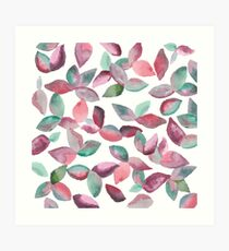 Watercolor Leaves Hand-Painted Red Green Botanical Pattern Art Print
