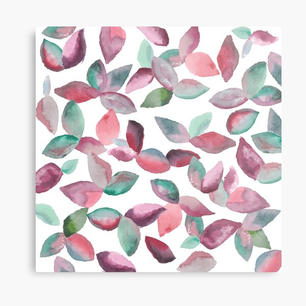 Watercolor Leaves Hand-Painted Red Green Botanical Pattern Metal Print