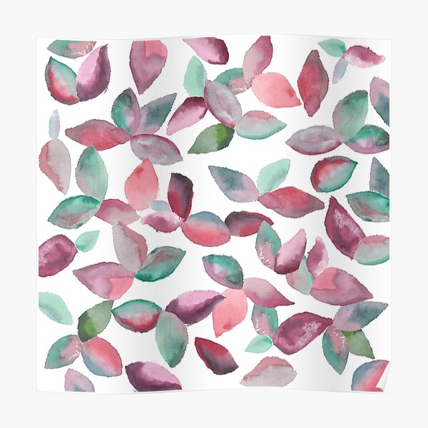 Watercolor Leaves Hand-Painted Red Green Botanical Pattern Poster