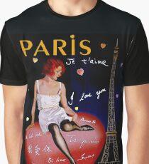 """""""PARIS"""" Vintage Ville DAmour Travel Print Graphic T-Shirt"""