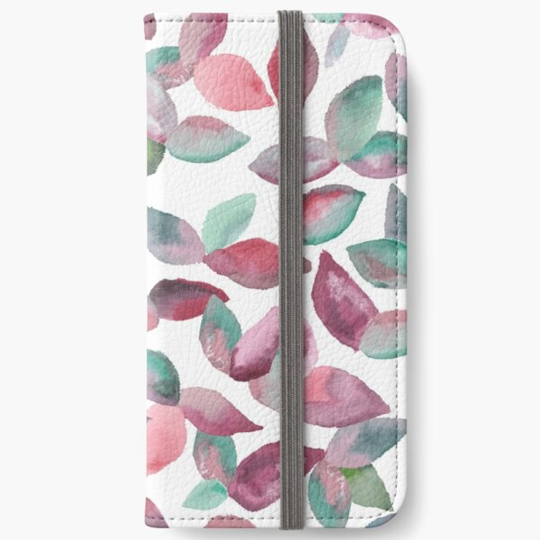 Watercolor Leaves Hand-Painted Red Green Botanical Pattern iPhone Wallet