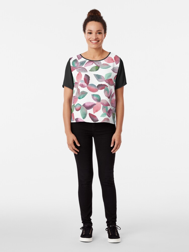 Alternate view of Watercolor Leaves Hand-Painted Red Green Botanical Pattern Chiffon Top