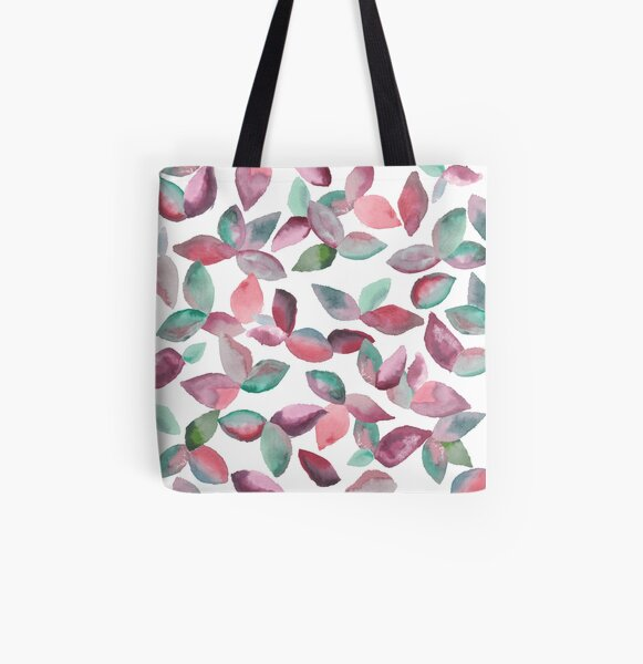 Watercolor Leaves Hand-Painted Red Green Botanical Pattern All Over Print Tote Bag