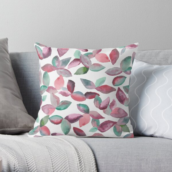Watercolor Leaves Hand-Painted Red Green Botanical Pattern Throw Pillow
