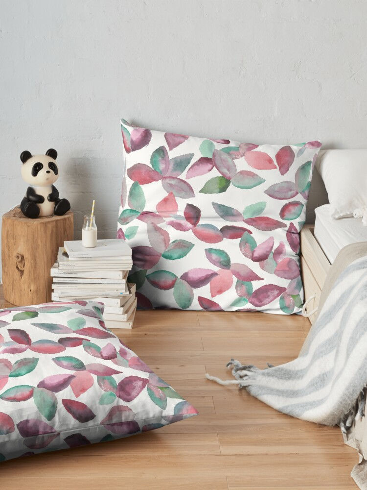 Alternate view of Watercolor Leaves Hand-Painted Red Green Botanical Pattern Floor Pillow