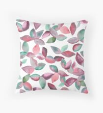 Watercolor Leaves Hand-Painted Red Green Botanical Pattern Floor Pillow