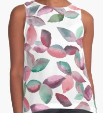 Watercolor Leaves Hand-Painted Red Green Botanical Pattern Sleeveless Top