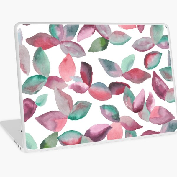 Watercolor Leaves Hand-Painted Red Green Botanical Pattern Laptop Skin