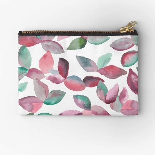 Watercolor Leaves Hand-Painted Red Green Botanical Pattern Zipper Pouch