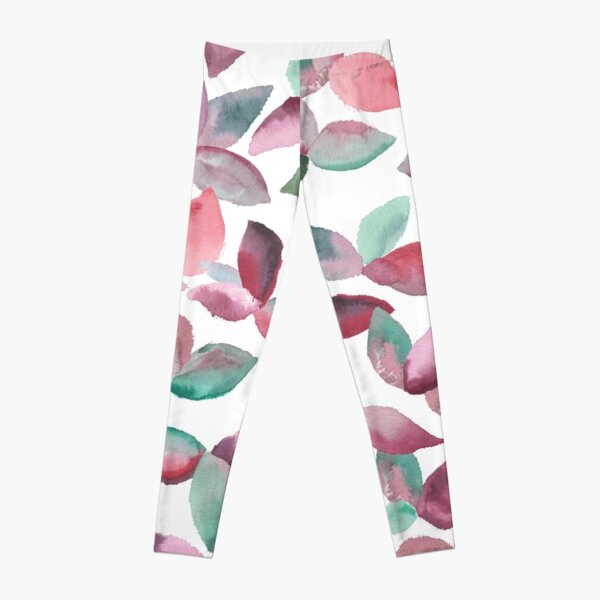 Watercolor Leaves Hand-Painted Red Green Botanical Pattern Leggings