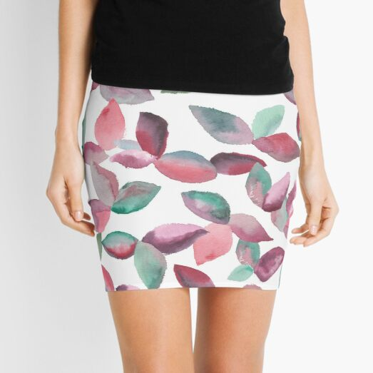 Watercolor Leaves Hand-Painted Red Green Botanical Pattern Mini Skirt