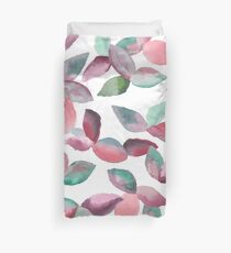 Watercolor Leaves Hand-Painted Red Green Botanical Pattern Duvet Cover