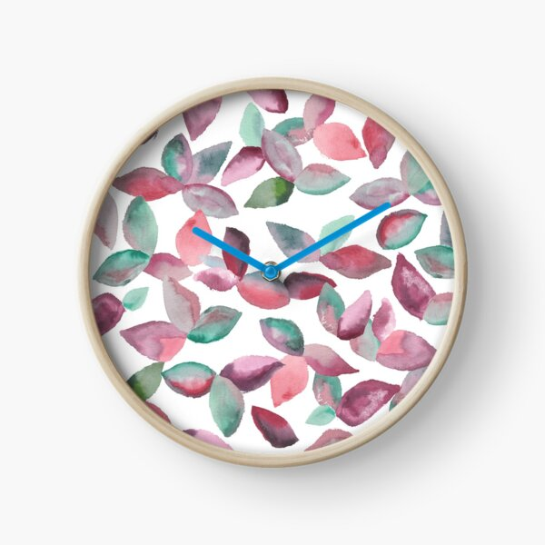 Watercolor Leaves Hand-Painted Red Green Botanical Pattern Clock