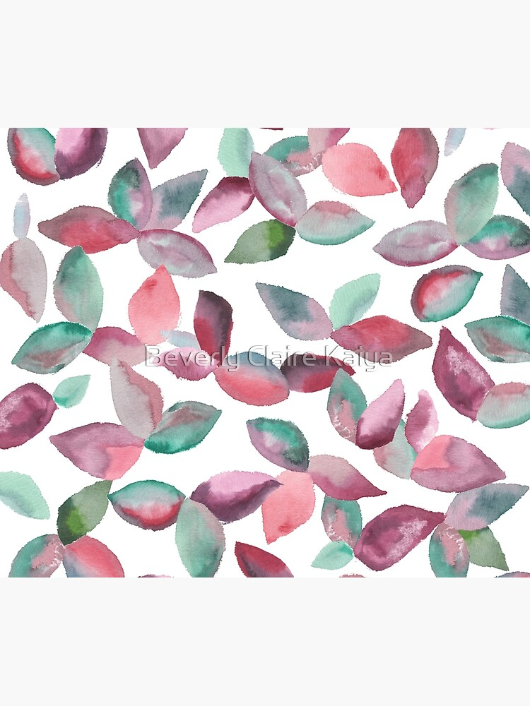 Watercolor Leaves Hand-Painted Red Green Botanical Pattern by beverlyclaire
