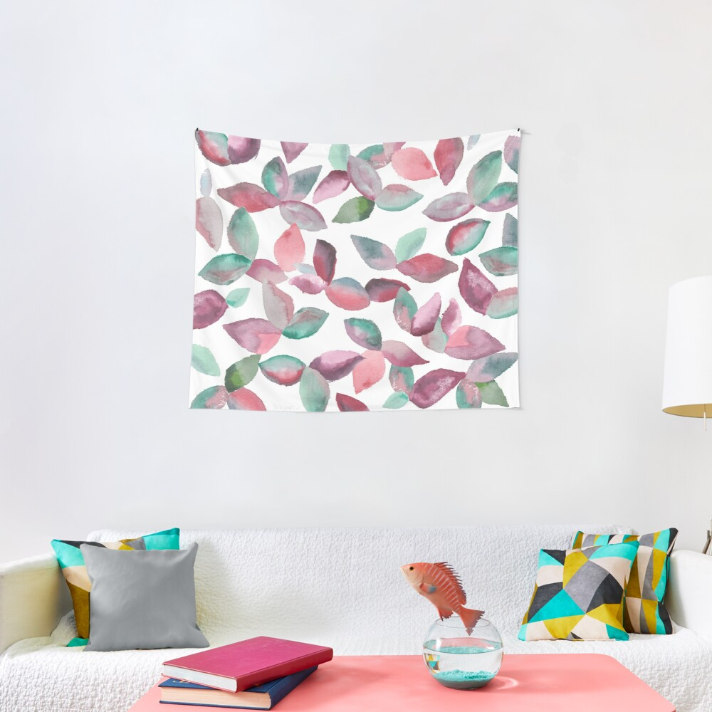 Watercolor Leaves Hand-Painted Red Green Botanical Pattern Tapestry