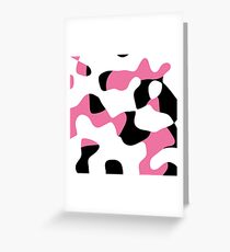 pink black and white abstract Greeting Card
