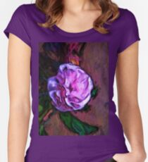 Pale Pink Flower with a Green Leaf Women's Fitted Scoop T-Shirt