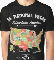 National Park Map Vintage T Shirt - All 59 National Parks Graphic T-Shirt