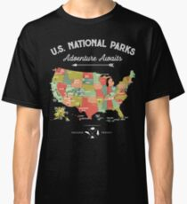 National Park Map Vintage T Shirt - All 59 National Parks Classic T-Shirt