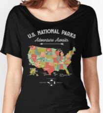 National Park Map Vintage T Shirt - All 59 National Parks Women's Relaxed Fit T-Shirt