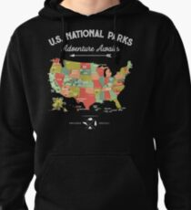National Park Map Vintage T Shirt - All 59 National Parks Pullover Hoodie
